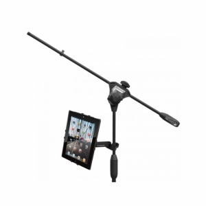 Bespeco TAB100 Tablet stand equipped with microphone stand attachment